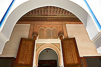 Berber arabesque doors of  the Petite Court, Bahia Palace, Marrakesh, Morroco
