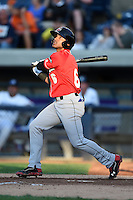 Great Lakes Loons second baseman Jesmuel Valentin (6) at bat during a game against the West Michigan Whitecaps on June 4, 2014 at Fifth Third Ballpark in Comstock Park, Michigan.  West Michigan defeated Great Lakes 4-1.  (Mike Janes/Four Seam Images)