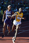 12 JUNE 2015: Kolby Listenbee of TCU and Trayvon Bromell of Baylor cross the finish line in the Men's 100 meters during the Division I Men's and Women's Outdoor Track & Field Championship held at Hayward Field in Eugene, OR.  Steve Dykes/ NCAA Photos
