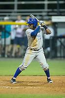 Rodrigo Orozco (14) of the Bluefield Blue Jays at bat against the Burlington Royals at Burlington Athletic Park on July 1, 2015 in Burlington, North Carolina.  The Royals defeated the Blue Jays 5-4. (Brian Westerholt/Four Seam Images)
