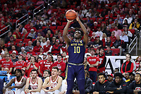 RALEIGH, NC - JANUARY 9: T.J. Gibbs #10 of the University of Notre Dame shoots the ball during a game between Notre Dame and NC State at PNC Arena on January 9, 2020 in Raleigh, North Carolina.