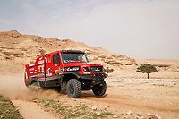 7th January 2021; Riyadh to Buraydah, Saudi Arabia; Dakar Rally, stage 5;  505 Vishneuski Aliaksei (blr), Novikau Maksim (blr), Sachuk Siarhei (blr), Maz, Maz-Sportauto, Camion, Truck, action during the 5th stage of the Dakar 2021 between Riyadh and Buraydah, in Saudi Arabia on January 7, 2021