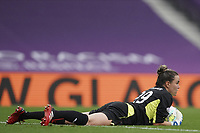21st August 2020, San Sebastian, Spain;  Lee Alexander of Glasgow City safely collects the through ball during the UEFA Womens Champions League football match Quarter Final between Glasgow City and VfL Wolfsburg.