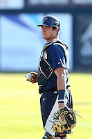 Austin Allen (23) of the Tri-City Dust Devils before a game against the Vancouver Canadians at Nat Bailey Stadium on July 23, 2015 in Vancouver, British Columbia, Canada. Tri-City defeated Vancouver, 6-4. (Larry Goren/Four Seam Images)