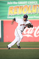 Bryan Muniz (25) of the Lancaster JetHawks in the field at first base during a game against the Bakersfield Blaze at The Hanger on June 18, 2016 in Lancaster, California. Bakersfield defeated Lancaster, 10-7. (Larry Goren/Four Seam Images)
