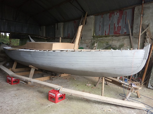 Another stage  of Lady Min's restoration at Roe Boats