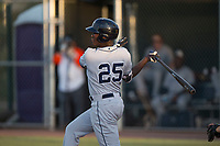 AZL Padres 1 third baseman Carlos Luis (25) follows through on his swing during an Arizona League game against the AZL Cubs 1 at Sloan Park on July 5, 2018 in Mesa, Arizona. The AZL Cubs 1 defeated the AZL Padres 1 3-1. (Zachary Lucy/Four Seam Images)