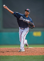 14 March 2016: Atlanta Braves pitcher Alexi Ogando, on the mound during a Spring Training pre-season game against the Tampa Bay Rays at Champion Stadium in the ESPN Wide World of Sports Complex in Kissimmee, Florida. The Braves shut out the Rays 5-0 in Grapefruit League play. Mandatory Credit: Ed Wolfstein Photo *** RAW (NEF) Image File Available ***