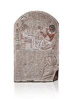 Ancient Egyptian stele dedicated to the god Khonsu by draftsman Pay, limestone, New Kingdom, 19th Dynasty, (1279-1213 BC), Deir el-Medina, ODrovetti cat 1553. Egyptian Museum, Turin. white background,
