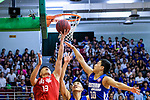 Chan Cheung Man #13 of SCAA Men's Basketball Team (L) in action against Yang Ricky #10 of Eastern Long Lions (R) during the Hong Kong Basketball League 2018 match between SCAA v Eastern Long Lions on August 10, 2018 in Hong Kong, Hong Kong. Photo by Marcio Rodrigo Machado/Power Sport Images