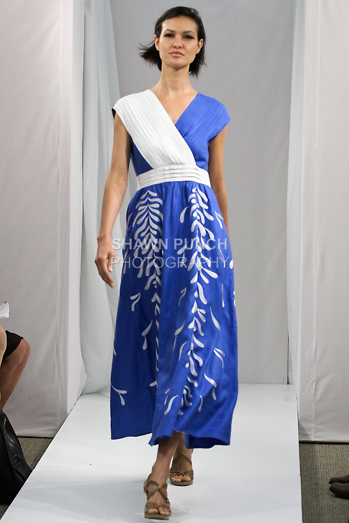 Model walks runway in an outfit from the JSong...Way Spring 2012 collection, during New York Fashion Spring 2012, on September 7, 2012.