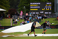 The covers come off during day three of the second International Test Cricket match between the New Zealand Black Caps and Pakistan at Hagley Oval in Christchurch, New Zealand on Tuesday, 5 January 2021. Photo: Dave Lintott / lintottphoto.co.nz