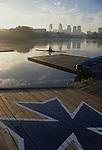 Rowing, Philadelphia, Boat House Row, sunrise, Philadelphia skyline, Schuylkill River, USA,