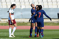 20190301 - LARNACA , CYPRUS : Thai Dangda Taneekarn (17)  pictured celebrating her goal and the 1-1 during a women's soccer game between Thailand and Mexico , on Friday 1 March 2019 at the GSZ Stadium in Larnaca , Cyprus . This is the second game in group B for both teams during the Cyprus Womens Cup 2019 , a prestigious women soccer tournament as a preparation on the FIFA Women's World Cup 2019 in France . PHOTO SPORTPIX.BE | DAVID CATRY