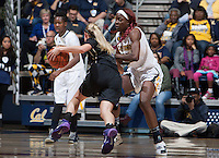 Gennifer Brandon of California in defense mode during the game against Washington at Haas Pavilion in Berkeley, California on March 1st, 2014.   Washington defeated California, 70-65.