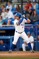 Dunedin Blue Jays left fielder Connor Panas (27) at bat during a game against the Clearwater Threshers on April 8, 2017 at Florida Auto Exchange Stadium in Dunedin, Florida.  Dunedin defeated Clearwater 12-6.  (Mike Janes/Four Seam Images)
