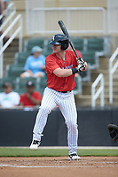 Alex Destino (23) of the Piedmont Boll Weevils at bat against the Greensboro Grasshoppers at Kannapolis Intimidators Stadium on June 16, 2019 in Kannapolis, North Carolina. The Grasshoppers defeated the Boll Weevils 5-2. (Brian Westerholt/Four Seam Images)