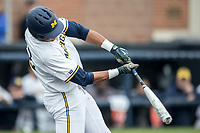 Michigan Wolverines outfielder Jordan Nwogu (42) swings the bat against the Maryland Terrapins on April 13, 2018 in a Big Ten NCAA baseball game at Ray Fisher Stadium in Ann Arbor, Michigan. Michigan defeated Maryland 10-4. (Andrew Woolley/Four Seam Images)