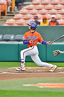 Clemson Tigers left fielder Sam Hall (5) swings at a pitch during a game against the North Carolina Tar Heels at Doug Kingsmore Stadium on March 9, 2019 in Clemson, South Carolina. The Tigers defeated the Tar Heels 3-2 in game one of a double header. (Tony Farlow/Four Seam Images)