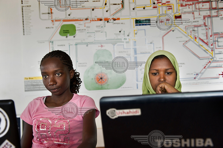 Susan Oguya and Jamila Abass, founders of Akirachix, developed a mobile phone application for farmers in rural areas, called M-Farm. Here at work at iHup, Nairobi's innovation hub for the technology community. It's an open space for the technologists, investors, tech companies.