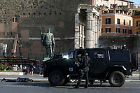 An armored tank on the set of the film Mission Impossible 7 at Imperial Fora in Rome. <br /> Rome (Italy), October 13th 2020<br /> Photo Samantha Zucchi Insidefoto