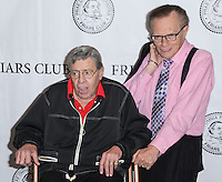 NEW YORK CITY, NY, USA - JUNE 05: Jerry Lewis, Larry King at the Friars Club Celebrates Jerry Lewis And 50th Anniversary Of 'The Nutty Professor' held at New York Friars Club on June 5, 2014 in New York City, New York, United States. (Photo by Jeffery Duran/Celebrity Monitor)