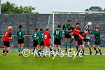Fenit Samphires keeper Jack Dwyer deflects another inbound effort from Tralee Dynamos in the U14 cup competition.
