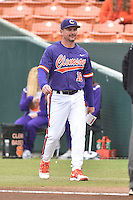 Clemson Tigers head coach Monte Lee (18) delivers delivers the lineup before a game against the Maine Black Bears at Doug Kingsmore Stadium on February 20, 2016 in Clemson, South Carolina. The Tigers defeated the Black Bears 9-4. (Tony Farlow/Four Seam Images)