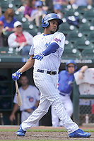Iowa Cubs third baseman Jeimer Candelario (35) swings during a game against the Round Rock Express at Principal Park on April 16, 2017 in Des  Moines, Iowa.  The Cubs won 6-3.  (Dennis Hubbard/Four Seam Images)