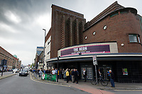 Pictured: A long queue of supporters outside The Neon. Tuesday 30 April 2019<br /> Re: Nigel Farage and Anne Widdecombe at the Brexit Party rally at The Neon in Clarence Place in Newport, south Wales, UK.