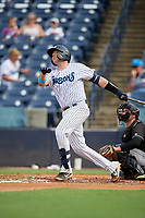 Tampa Tarpons Donny Sands (33) bats during a Florida State League game against the Jupiter Hammerheads on July 26, 2019 at George M. Steinbrenner Field in Tampa, Florida.  Tampa defeated Jupiter 2-0.  (Mike Janes/Four Seam Images)