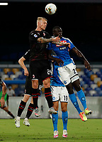 Simon Kjaer of Milan  Kalidou Koulibaly of Napoli   during the  italian serie a soccer match,  SSC Napoli - AC Milan       at  the San  Paolo   stadium in Naples  Italy , July 12, 2020