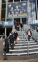 Photo: Richard Lane/Richard Lane Photography. Wasps Open Training Session at the Ricoh Arena ahead of their first game at the stadium. 16/12/2014. Children arrive for to watch Wasps at the Ricoh Arena.
