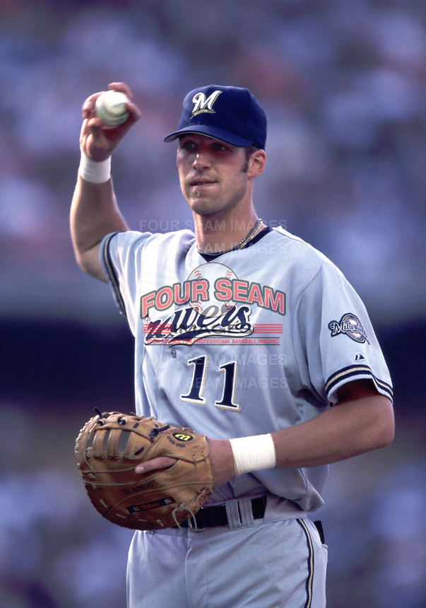 Richie Sexson of the Milwaukee Brewers during a 2000 season MLB game at Dodger Stadium in Los Angeles, California. (Larry Goren/Four Seam Images)