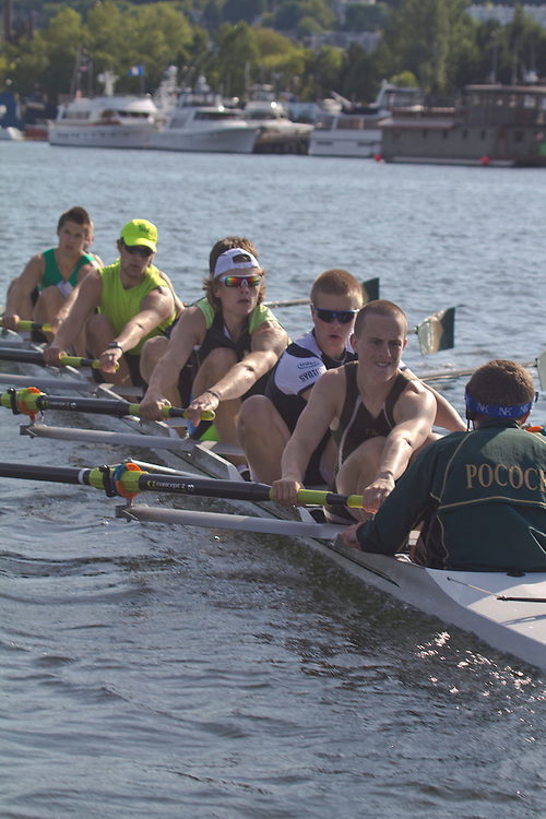 Rowing, Seattle, Pocock Rowing Foundation, Junior Men's eights, workout, Lake Union, Washington State, spring, 2012,