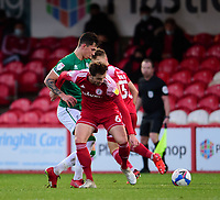 Lincoln City's Lewis Montsma battles with Accrington Stanley's Matt Butcher<br /> <br /> Photographer Andrew Vaughan/CameraSport<br /> <br /> The EFL Sky Bet League One - Accrington Stanley v Lincoln City - Saturday 21st November 2020 - Crown Ground - Accrington<br /> <br /> World Copyright © 2020 CameraSport. All rights reserved. 43 Linden Ave. Countesthorpe. Leicester. England. LE8 5PG - Tel: +44 (0) 116 277 4147 - admin@camerasport.com - www.camerasport.com