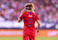 PHILADELPHIA, PA- AUGUST 29: Sam Mewis #3 of the United States adjusts her mask during a game between Portugal and the USWNT at Lincoln Financial Field on August 29, 2019 in Philadelphia, PA.