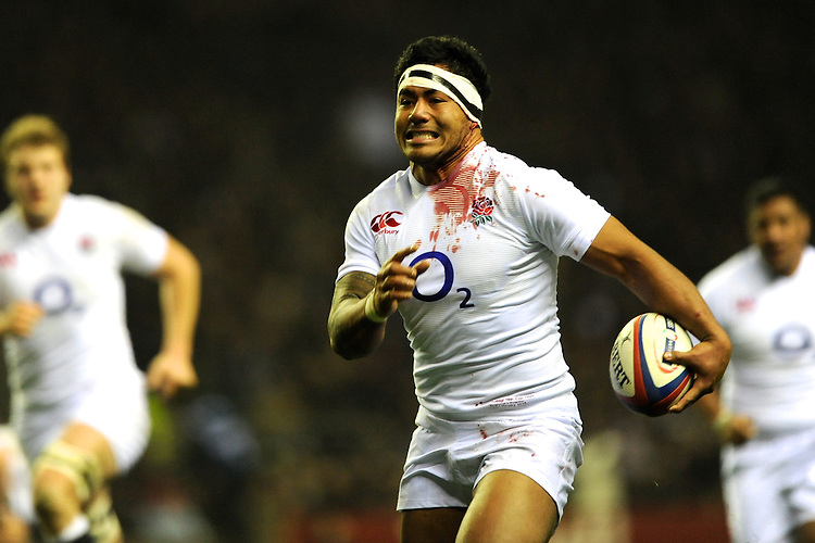 Manu Tuilagi of England runs in a try during the RBS 6 Nations match between England and France at Twickenham on Saturday 23rd February 2013 (Photo by Rob Munro)