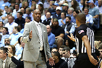 CHAPEL HILL, NC - MARCH 03: Head coach Danny Manning of Wake Forest University talks to an official during a game between Wake Forest and North Carolina at Dean E. Smith Center on March 03, 2020 in Chapel Hill, North Carolina.