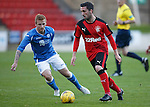 St Johnstone v Rangers...29.09.15   SPFL Development League  McDiarmid Park, Perth<br /> Nicky Clark is closed down by Liam Caddis<br /> Picture by Graeme Hart.<br /> Copyright Perthshire Picture Agency<br /> Tel: 01738 623350  Mobile: 07990 594431