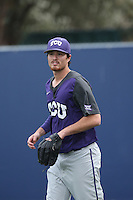 Preston Morrison (18) of the TCU Horned Frogs before a game against the Loyola Marymount Lions at Page Stadium on March 16, 2015 in Los Angeles, California. TCU defeated Loyola, 6-2. (Larry Goren/Four Seam Images)
