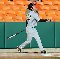 Right fielder Josh Hyman (22) of the Wofford Terriers in a game against the Clemson Tigers on Wednesday, March 6, 2013, at Doug Kingsmore Stadium in Clemson, South Carolina. Clemson won, 9-2. (Tom Priddy/Four Seam Images)