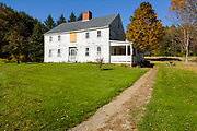 The Sawyer House which is located at the Daniel Webster Birthplace site in Franklin, New Hampshire USA during the autumn months.