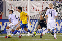 United States goalkeeper Tim Howard (1) guards the near post. The men's national team of Brazil (BRA) defeated the United States (USA) 2-0 during an international friendly at the New Meadowlands Stadium in East Rutherford, NJ, on August 10, 2010.