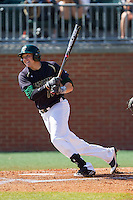 Zach Jarrett (10) of the Charlotte 49ers follows through on his swing against the Canisius Golden Griffins at Hayes Stadium on February 23, 2014 in Charlotte, North Carolina.  The Golden Griffins defeated the 49ers 10-1.  (Brian Westerholt/Four Seam Images)