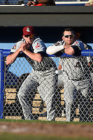 Mahoning Valley Scrappers outfielder Bradley Zimmer (47) and designated hitter Shane Rowland (4) in the dugout during a game against the Batavia Muckdogs on June 21, 2014 at Dwyer Stadium in Batavia, New York.  Batavia defeated Mahoning Valley 10-6.  (Mike Janes/Four Seam Images)