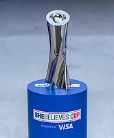 ORLANDO, FL - FEBRUARY 18: The SheBelieves Cup sits in the tunnel before a game between Argentina and Brazil at Exploria Stadium on February 18, 2021 in Orlando, Florida.