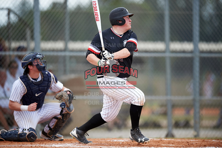Edgewood College Eagles Nick Lehner (36) at bat during the first game of a doubleheader against Western Connecticut Colonials on March 13, 2017 at the Lee County Player Development Complex in Fort Myers, Florida.  Edgewood defeated Western Connecticut 3-0.  (Mike Janes/Four Seam Images)