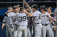Ben Breazeale (39) of the Wake Forest Demon Deacons is congratulated by his teammates after hitting a game-tying home run in the top of the ninth inning against the Florida Gators in Game One of the Gainesville Super Regional of the 2017 College World Series at Alfred McKethan Stadium at Perry Field on June 10, 2017 in Gainesville, Florida.  The Gators defeated the Demon Deacons 2-1 in 11 innings.  (Brian Westerholt/Four Seam Images)