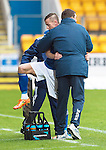 St Johnstone v Hamilton Accies...12.09.15  SPFL McDiarmid Park, Perth<br /> Steven MacLean gets a hug from Tommy Wright as he is subbed<br /> Picture by Graeme Hart.<br /> Copyright Perthshire Picture Agency<br /> Tel: 01738 623350  Mobile: 07990 594431